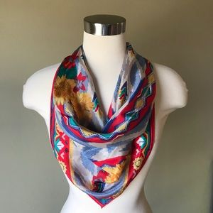 Vintage Red Yellow Blue Floral Large Square Scarf